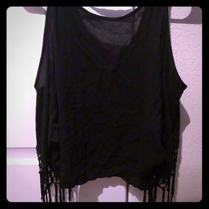 Black batwing crop top (witchy)